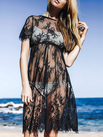 See-Through Round Neck Short Sleeve Lace Dress