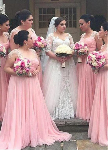 Chic Tulle & Silk-like Chiffon V-neck Neckline A-line Bridesmaid Dresses With Lace Appliques