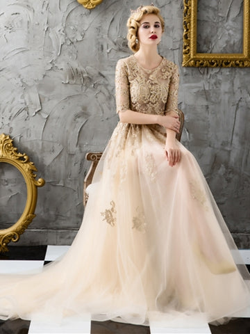Beading A-Line Half Sleeves Scoop Lace Court Train Evening Dress