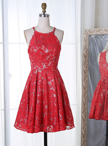 Round Neck Short Red Lace Homecoming Dress