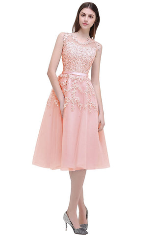 Pink Sleeveless Tulle Appliques Short Evening Cocktail Gowns
