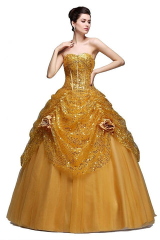 Pageant Quinceanera Gold Sequined Dress