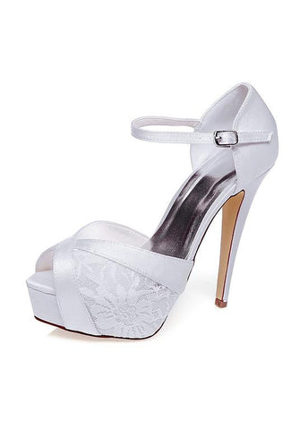 Elegant Satin & Lace Upper Peep Toe Stiletto Heels Wedding Shoes