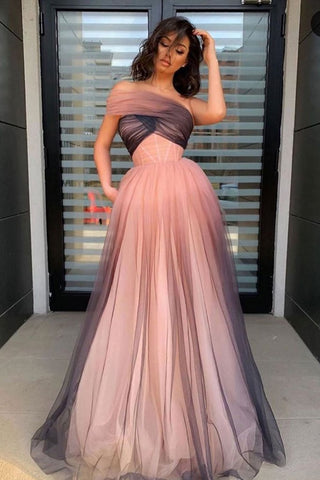 Tulle Floor Length Gradient One Shoulder Pleats Prom Dress