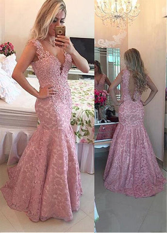 Lace V-Neck Mermaid Evening Dresses With Appliques