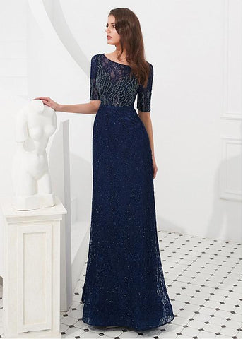 Tulle Bateau Navy Floor-length A-line Evening Dress