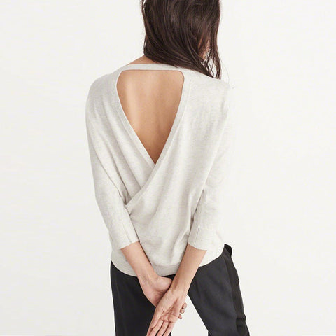 Solid Leisure Sweater With Hollow Back