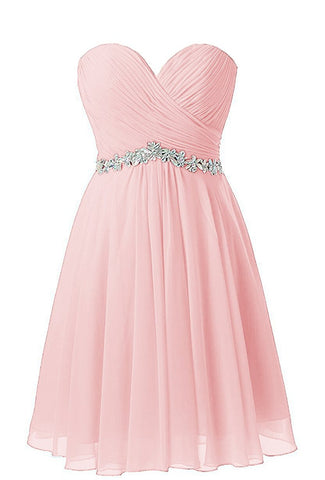 Pink Sweetheart Beaded Homecoming Dresse