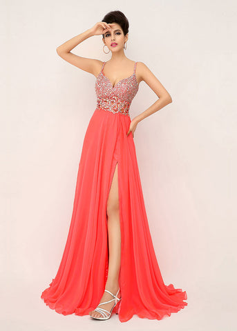 Charming Chiffon Spaghetti Straps Neckline A-line Formal Dresses With Beadings