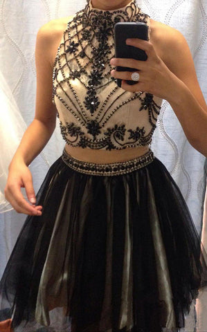 Black Halter Two Piece Prom Dresss