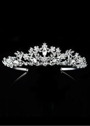 Marvelous Silver-plated Alloy Tiara With Rhinestones