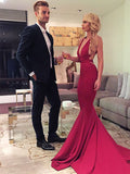 Sheath V-neck Burgundy  Ruffles Satin Prom Dresses