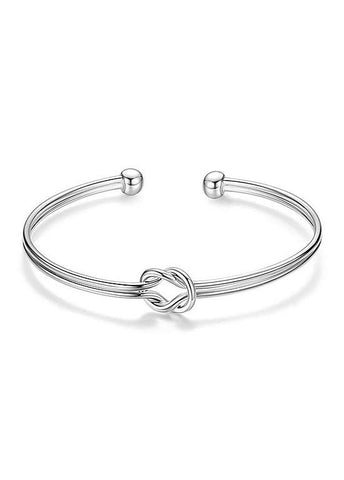 Knot Platinum Plated Cuff Bangle
