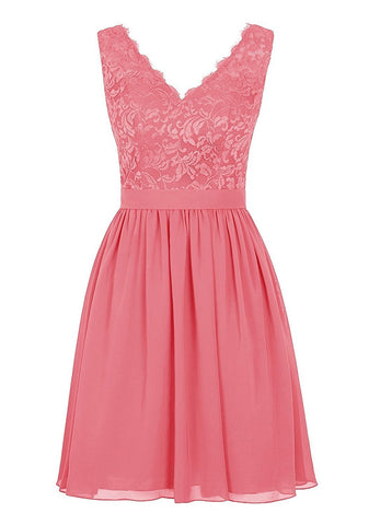 Cheap V Neck Lace Dress Bridesmaids Dress Short Prom Dress