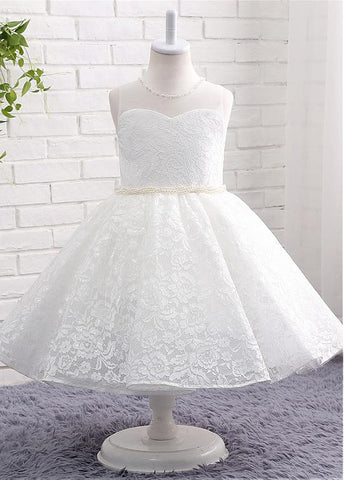 Fashionable Lace Jewel Neckline Ball Gown Flower Girl Dresses With Beadings