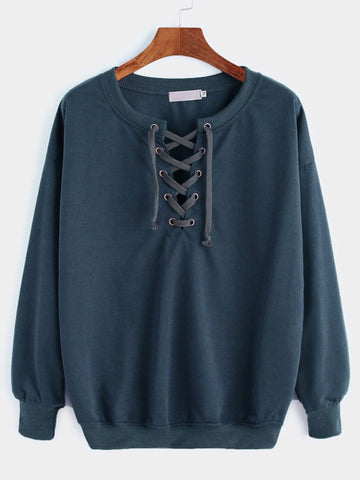 Vintage Green Drop Shoulder Lace Up Sweatshirt
