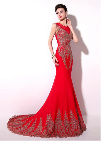 Red Eye-catching Jersey Jewel Neckline Mermaid Evening Dresses With Lace Appliques