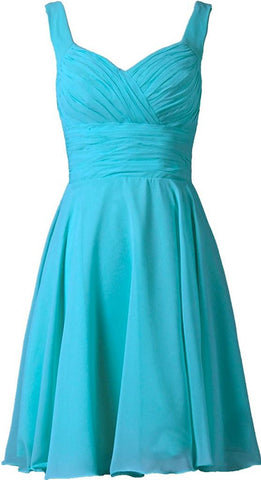 Pool V-neck Chiffon Short Bridesmaid Dresses
