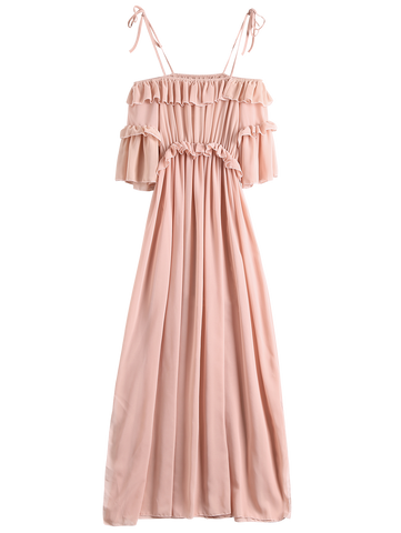 Chiffon Ruffles Beach Dress Pink