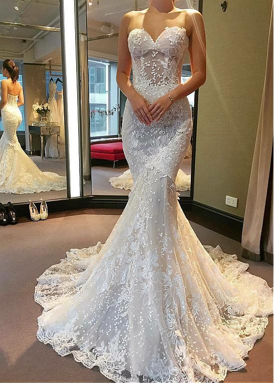 See Through Wedding Dresses.Tulle Sweetheart See Through Bodice Mermaid Wedding Dress