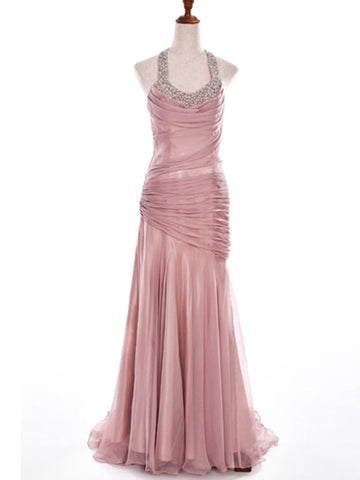 Halter Crystal A-Line Pleats Evening Dress