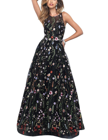 Black Romantic Flower Lace Prom Dress