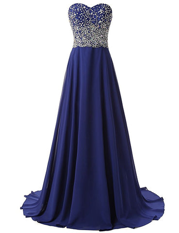 Long Beaded Royal Blue Prom Dresses Featuring Sweetheart Neckline Long Chiffon A Line Court Train Evening Gown