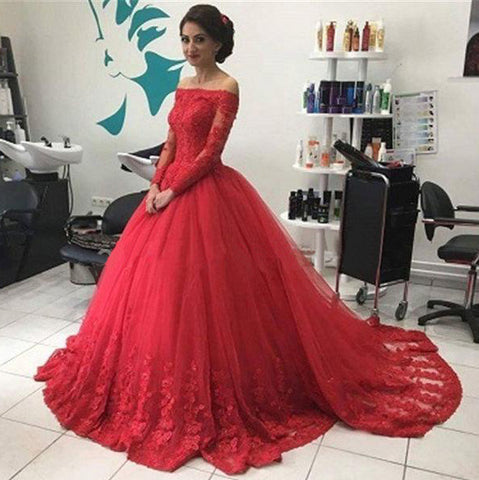 52916b55fd4 Ball Gown Long Sleeves Lace Red Prom Dress