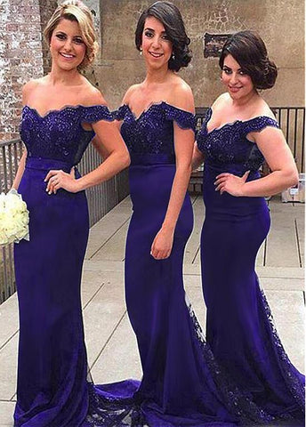 Unique Tulle & Stretch Charmeuse Off-the-shoulder Neckline Sheath/Column Bridesmaid Dresses With Beaded Lace Appliques & Belt