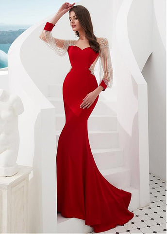 Satin Bateau Red Beading Long Sleeves Mermaid Evening Dress
