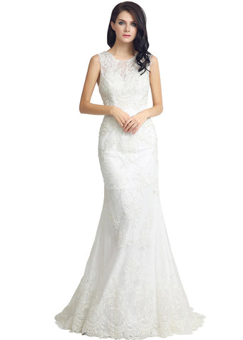 Fantastic Lace & Tulle Jewel Neckline Sheath Wedding Dresses With Lace Appliques
