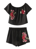 Cropped Floral Embroidered Top And Drawstring Shorts