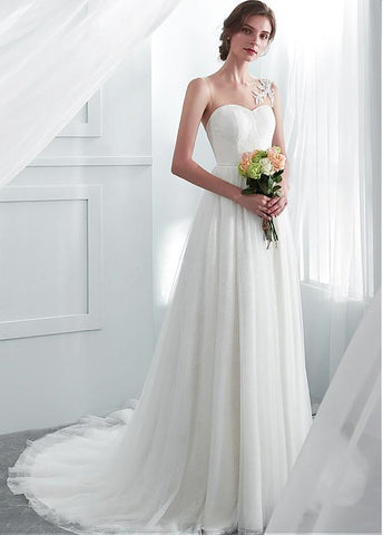 Tulle & Lace Jewel Lace Appliques A-line Wedding Dress