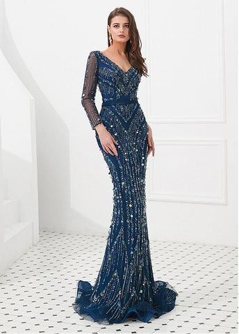 Lace V-neck Long Sleeve Blue Mermaid Evening Dress