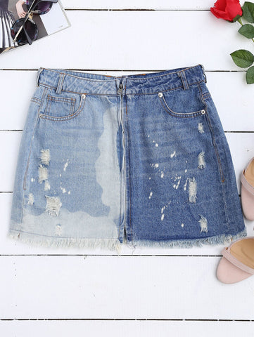 Cutoffs Ripped Denim Skirt