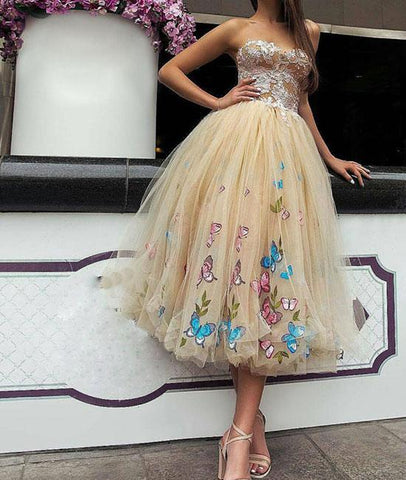 Champagne Floral Sweetheart Tulle Tea Length Prom Dress