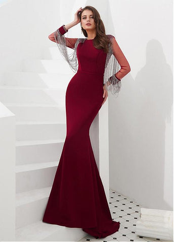 Satin Bateau Burgundy Long Sleeve Mermaid Evening Dress