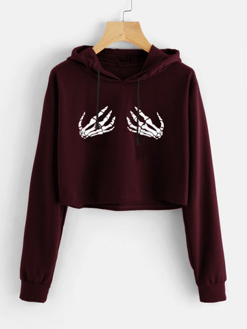 Burgundy& & Black Skeleton Hands Print Crop Hoodie