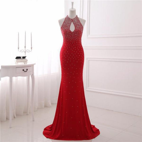Red Mermaid Keyhole Eleastic Satin Prom Dress