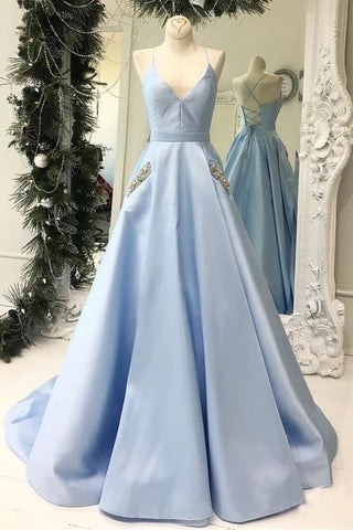 Satin A Line Beading Spaghetti Straps Sky Blue Pockets Prom Dress