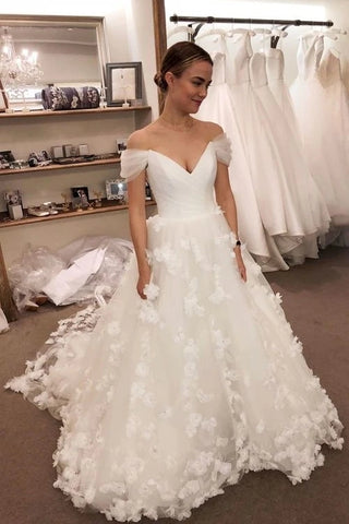 3D Flowers A Line Tulle Off The Shoulder Wedding Dress