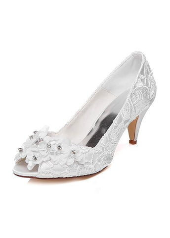 Sweet Satin Upper Peep Toe Stiletto Heels Wedding/ Bridal Shoes With Lace & Flowers & Rhinestones