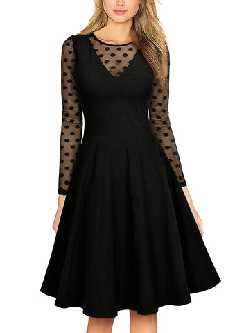 Black Long Sleeve Polka Dot Swing Dress