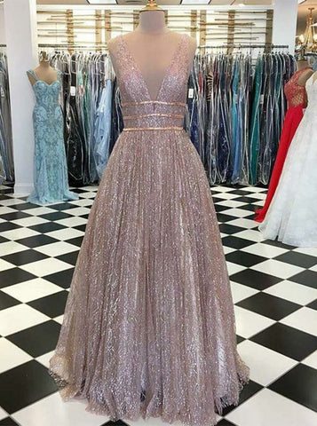 Sparkle V-Neck Sliver Sequin Belt Prom Evening Dress