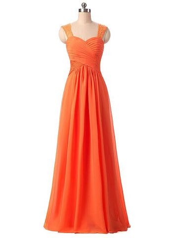 Orange Charming Chiffon Sweetheart Neckline A-Line Prom Dresses