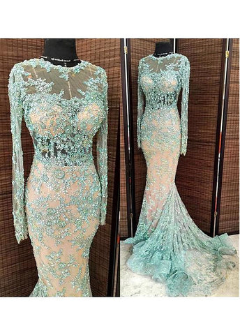 Delicate Tulle Jewel Neckline Mermaid Evening Dresses With Beaded Lace Appliques