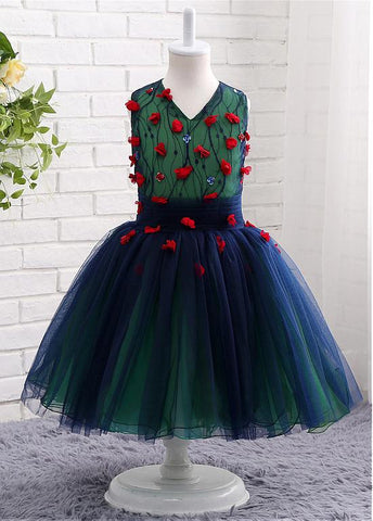 Special Tulle & Lace V-neck Neckline Ball Gown Flower Girl Dresses With Handmade Flowers