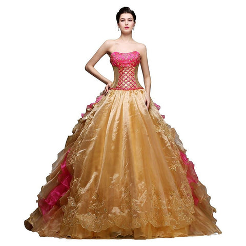 Gold Ball Gown Pageant Quinceanera Dress