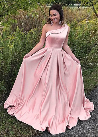 Satin One-shoulder Prom Dresses With Pleats
