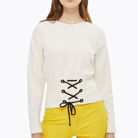 Cross Straps Slim Round Neck Pullovers